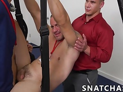 Blindfolded twink enjoys being smashed on the sex swing