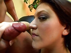 Redhead with big eyes and cum on face
