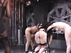 Black mistress enjoys dominating three helpless white girls