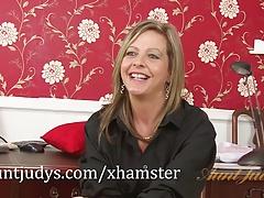 Silky Thighs Lou interviews and masturbates.