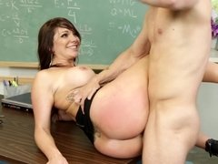 A busty and fantastic slut is getting fucked in her cunt