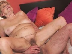 Nasty old woman opens her vintage vagina for a thick hard pecker