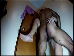 Amateur hairy wife pinned standing pounded quickie