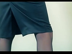 2 hot lesbian brunettes strapless dildo fuck in pantyhose
