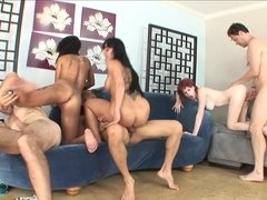 Orgy at home with three slutty ladies and their men