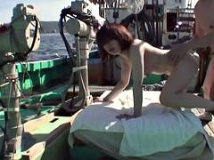 Asian slut gets fucked on a fishin boat