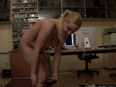 Blonde amateur MILF has big natural tits