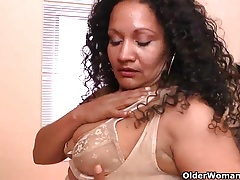 Latina milfs Sharon and Rosaly get busy with a massager