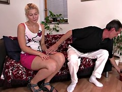 Girl sucks and rides old man's cock