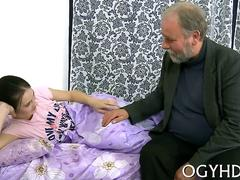 Brunette teen plays with a fat old mans dick