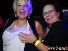 Cfnm redhead takes strippers purple pole in her mouth while supplementary cfnm broads dance at party