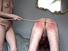 Blonde Mistress spank her slave
