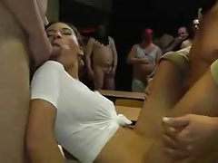 Cute woman takes many men in creampie gangbang