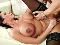 Ariella Ferrera Cups Her Breasts Together When The Cum Starts To Fly
