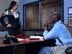 A black dude is penetrating his colleague at a police station