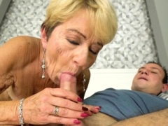 Spunked grandmother gets down and dirty