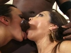 Lucky Black Man Gets down and dirty 2 Charming Brunettes