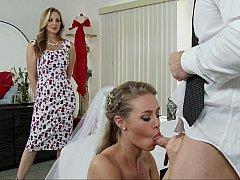 Amerikanisch, Schlafzimmer, Blondine, Braut, Kleid, Frau frau mann, Pornostars, Flotter dreier