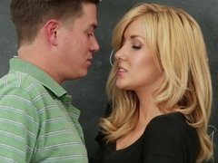 Hot classroom hardcore with a small tits blonde temptress