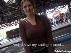 Natural busty redhead railed in public