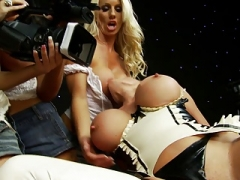 Boobalicious bitch gets filmed while riding stud on the sofa
