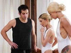 Jealous coach fucks two magnificent ballerinas in studio