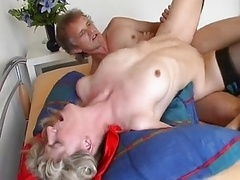 Blonde Old takes cumshot with gum in your mouth
