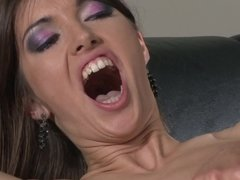 A couple of pretty girls are licking each other in a lesbian scene