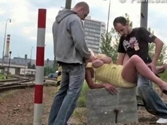 Bigtitted pretty babe in group sex at a public railway fucked hard Utterly Nifty