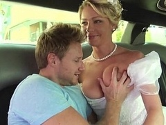 Bride in white cute dress gets fucked