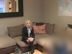 Blonde british rookie rides casting agent