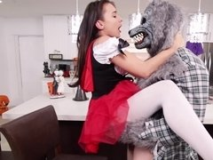 A big ass little red riding hood is fucked by the big hard wolf