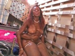 Chubby ebony slut gets ravished with a huge black schlong