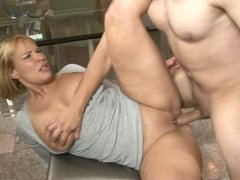 A cougar that loves her son in law is getting her pussy pounded hard