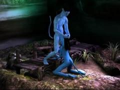 3D Toon - Blue Alians have Sex - Face cumshot - cartoon