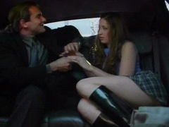 Mad squeaking redhead has sex in car