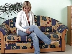 Mature Jacking off on the Sofa