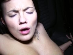 A sexy amateur that has a nice rack is getting semen in her mouth