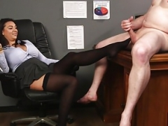 Breasty brit voyeur teases cfnm sub from desk