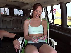 Young babe undressing in a car