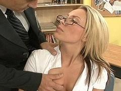 Hot student on her teacher's knob