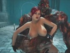 3D Breasty Girl Ruined by Immense Monster!