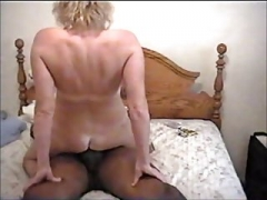 White Wife taking a Thick Black Cum cannon