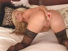 Glamorous blonde strips