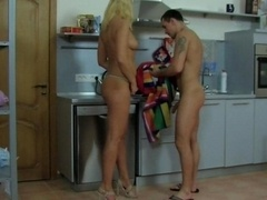 Bridget and besides Clifford morning sex in the kitchen