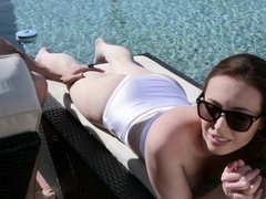 Tanning hottie Casey Calvert fucked up the ass by a big cock
