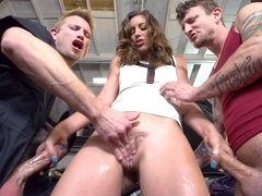 A slut that is in a threesome is getting penetrated by two guys