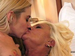 A granny that loves young blondes is doing a lesbian video