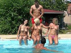 Blonde, Brunette brune, Européenne, Groupe, Hard, Orgie, Fête, Réalité