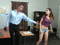 She asks her professor to help and he gladly obliges